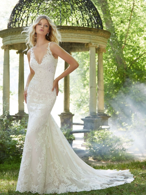 lace fitted Mori Lee wedding dress with beaded neckline and sheer lace straps under $2200