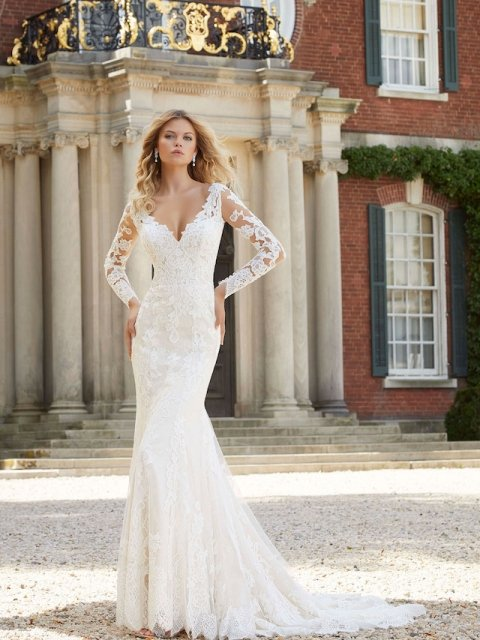 Lace long Sleeve Morilee Wedding dress, keyhole back and beaded detail, stretch lace under $2500