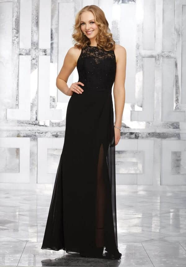 Mori Lee bridesmaid dress style number 21533. Full Length Bridesmaids Dress Featuring a Delicately Beaded Lace Bodice and Chiffon Skirt. Shown in Black.