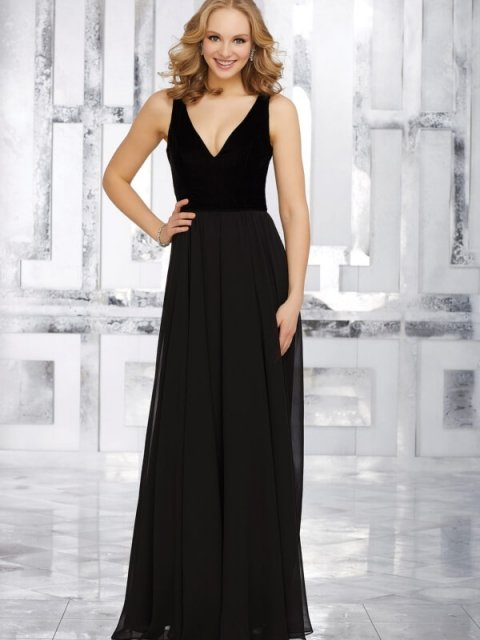 mori Lee bridesmaid dress style number 21535. Chiffon Bridesmaids Dress Featuring a Stretch Velvet V-Neck Bodice and Open V-Back. Shown in Black.