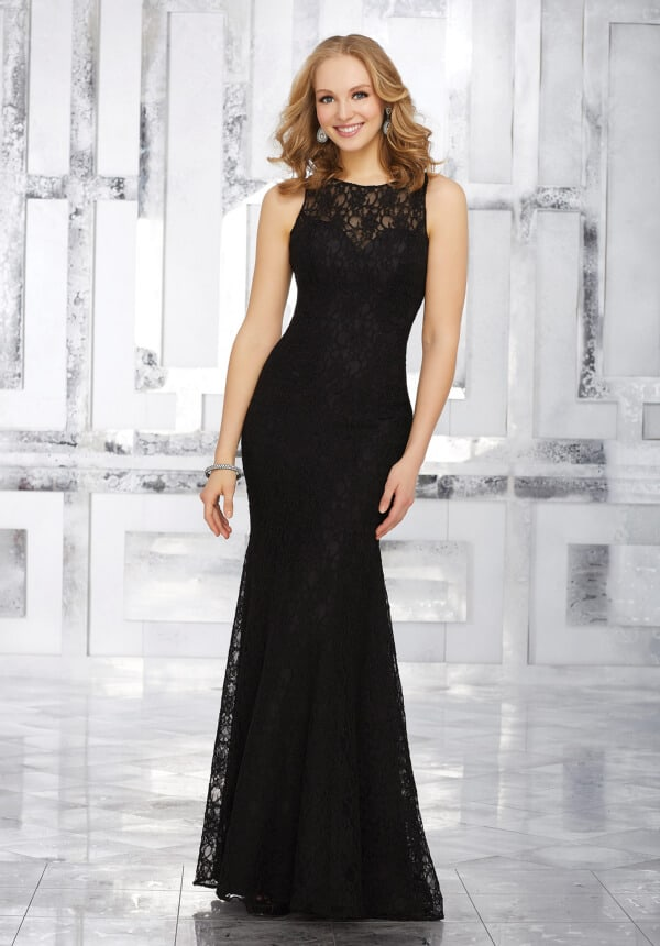 Mori Lee bridesmaid dress style number 21537. Fitted Lace Bridesmaids Dress with Jewel Neckline and Open Back. Shown in black.