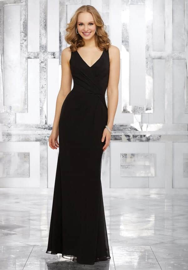 Mori Lee bridesmaid dress style number 21538. Chiffon Bridesmaids Dress with V-Neckline and Open V-Back. Shown in black.