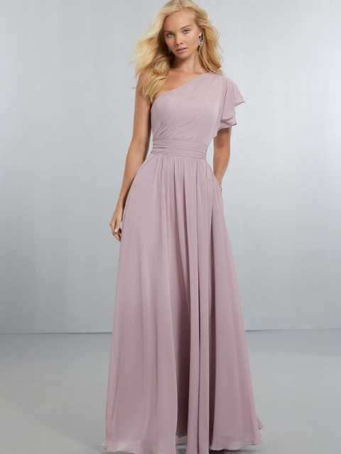 Mori Lee bridesmaid dress style number 21554. One-Shoulder, A-Line Chiffon Gown with Flounced Shoulder Detail. Draping on the Waistline and Skirt Continue Around to the Zipper Back. Shown in Desert Rose.