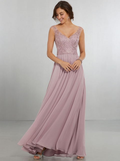 Mori Lee bridesmaid dress style number 21558. Delicately Beaded Embroidery on Net over Flowing Chiffon A-Line Gown. The V-Neckline, Off-the-Shoulder Sleeves Follow Around to the Keyhole Back Neckline with Zipper. Shown in Desert Rose.