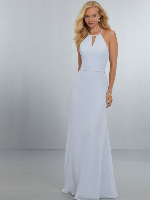 Mori Lee bridesmaid dress style number 21563. High Halter, Keyhole Neckline on an A-Line Chiffon Gown. Chic, Strappy Back with Scoop Back Neckline and Zipper. Shown in Fog.