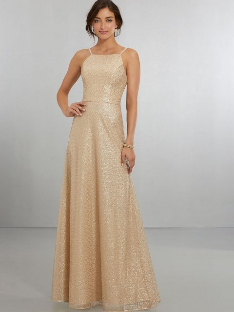 Mori Lee bridesmaid dress style number 21564. Caviar Mesh A-Line Gown with Halter Neckline and Scoop Back with Zipper. Shown in Gold.