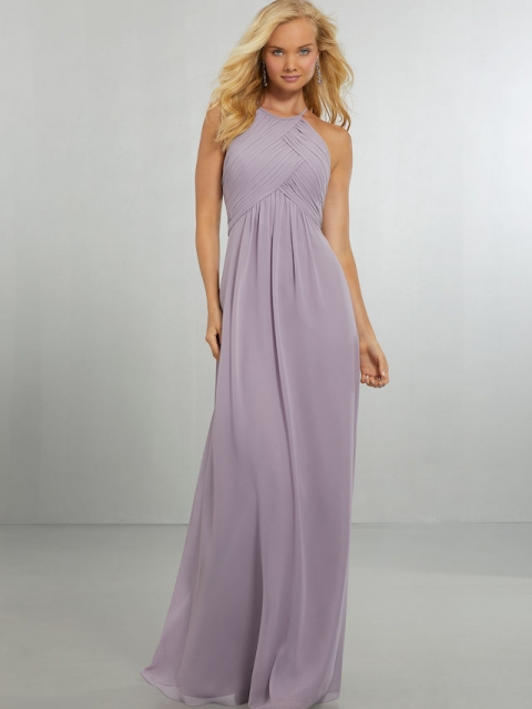 Mori Lee bridesmaid dress style number 21570. Draped Halter Chiffon Gown with High Neckline and Keyhole Back, Accented with a Crystal Button and Back Zipper. Shown in French Lilac.