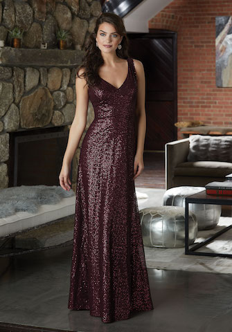 Luxurious Caviar Mesh Bridesmaid Dress with V-Neckline and V-Back. Shown in Bordeaux.
