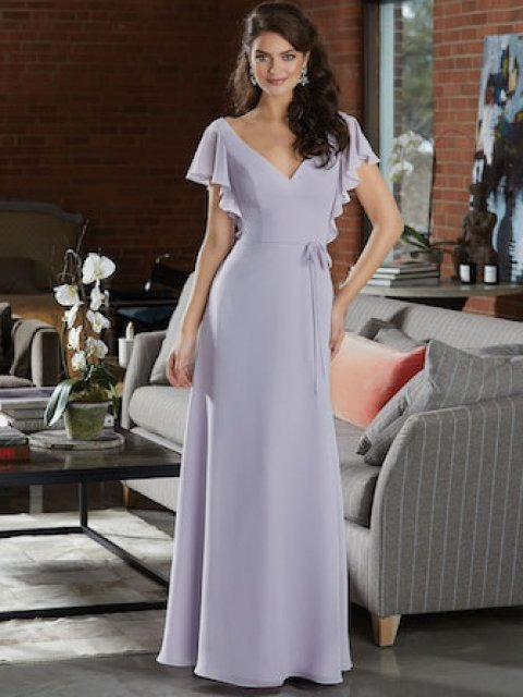 Boho Chiffon Bridesmaid Dress Featuring a Deep V-Neckline and Delicate Flutter Sleeves. An Open Back and Thin Tie Sash at the Waist. Shown in Wisteria.