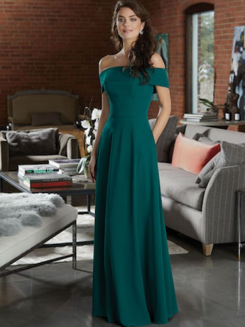 Mori Lee bridesmaid dress style number 21596.  Chiffon Bridesmaid Dress Featuring a Classic Off-the-Shoulder Neckline. Shown in Emerald.