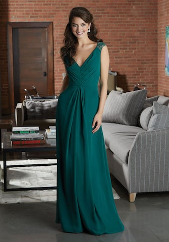 Mori Lee bridesmaid dress style number 21598. Chiffon Bridesmaid Dress Featuring a Pleated V-Neckline Bodice Accented with Lace Cap Sleeves. and An Open Keyhole Back. Shown in Emerald.