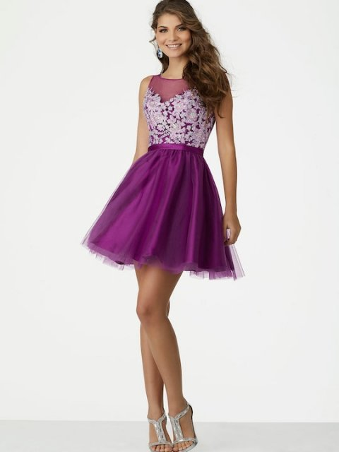 Mori Lee short prom dress style number 33039. Shown in Purple.