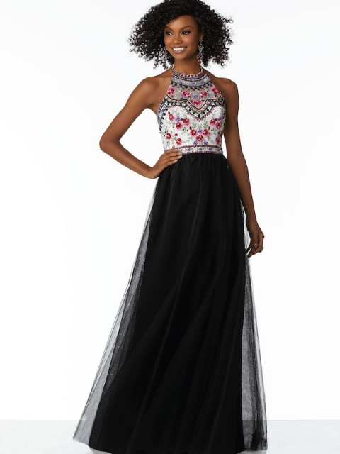Mori Lee long prom dress style number 42013. Shown in Black/Multi.