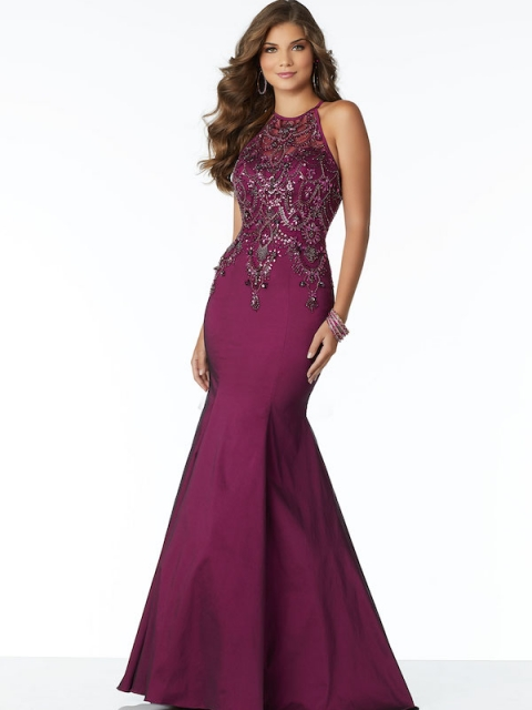 Mori Lee long prom dress style number 99050. Shown in Black Cherry.