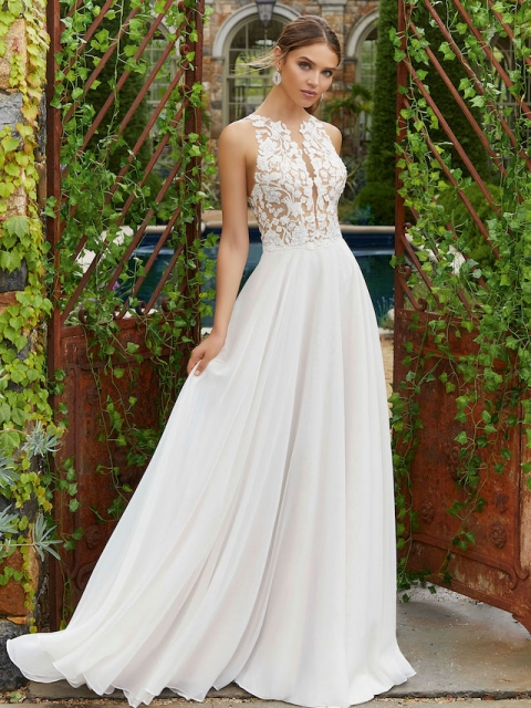 lace illusion bodice with high neckline and chiffon skirt Mori Lee wedding dress under $2000