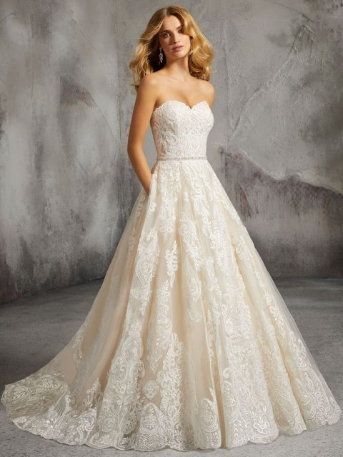 Lace Ballgown with shimmer lace detail, strapless Morilee Wedding gown with pockets under $3000