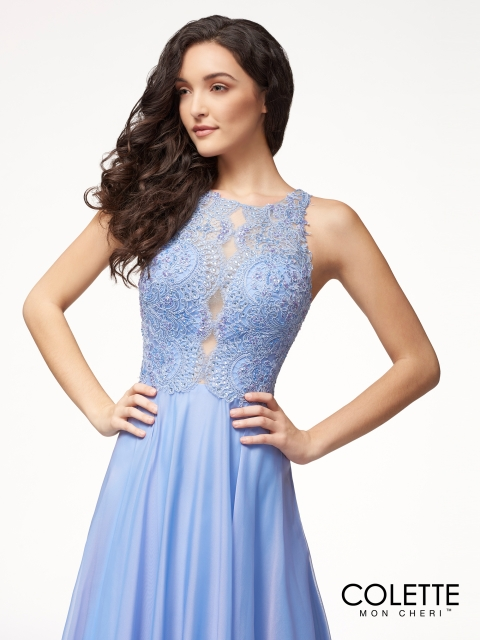 Colette for Mon Cheri long prom dress style number CL18255. Shown in Periwinkle Blue.