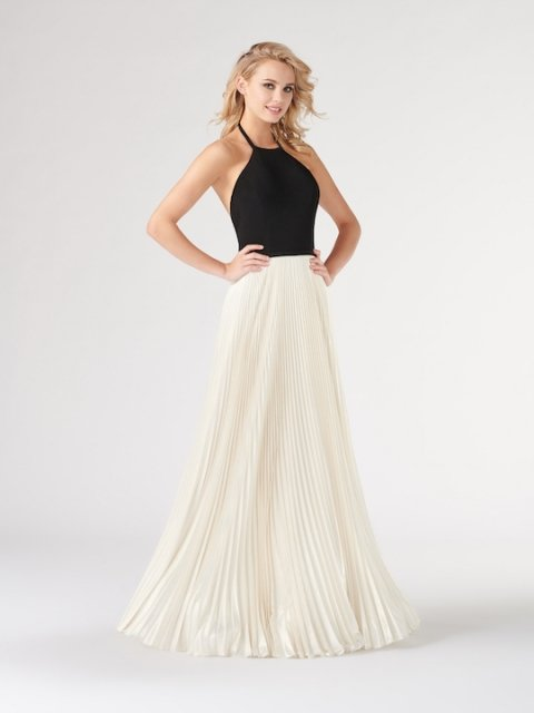 Colette for Mon Cheri long prom dress style number CL19863. Shown in Black/Light Ivory.