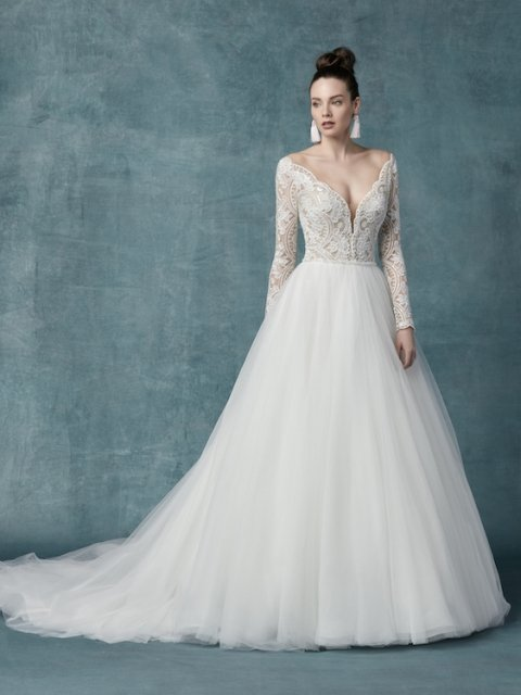 long sleeve Maggie Sottero wedding dress with lace and beaded bodice with plunging neckline and full tulle ball gown under $2500