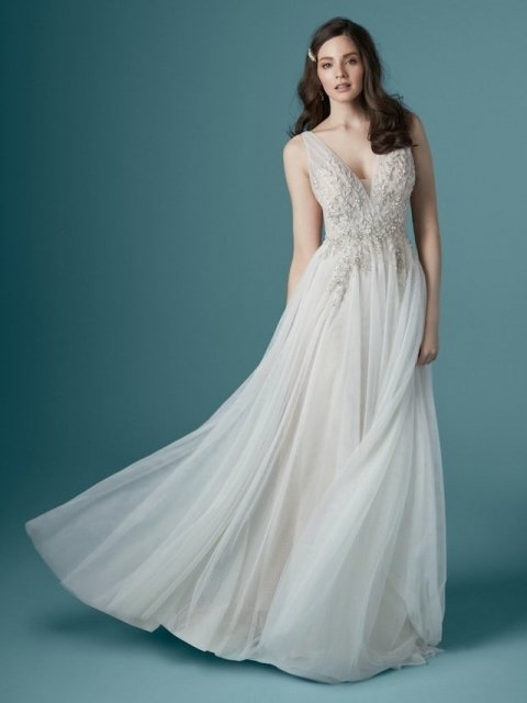 Maggie-Sottero-Meletta-20MS318 Soft tulle aline with v-neck, straps and beading