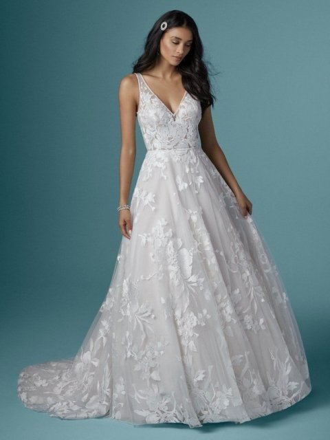 Maggie-Sottero-Sasha-20MT217-floral ballgown with straps