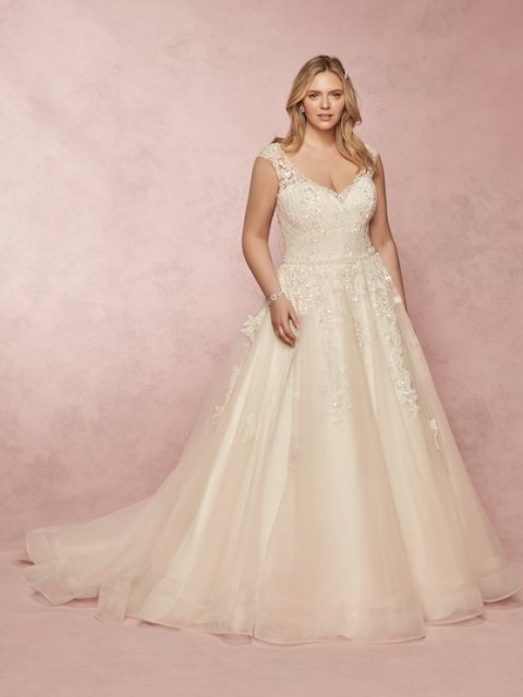 Cap Sleeve lace and sequin detailed Rebecca Ingram plus size Wedding Dress with an aline lightweight skirt under $1800