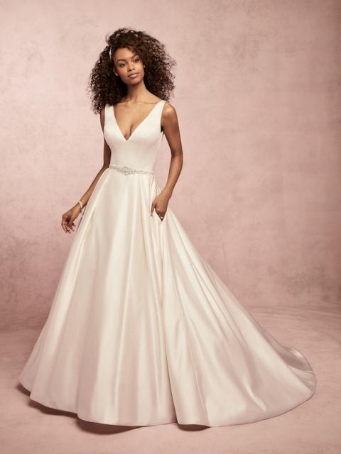 Full satin ballgown Rebecca Ingram wedding dress with v neck and satin buttons under $1600