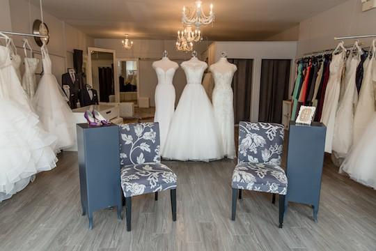 Dressing room at Runway Bridal.
