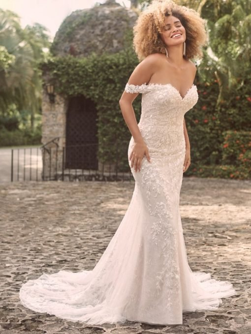 Off-the-shoulder nature-inspired bridal gown with flirty floral motifs