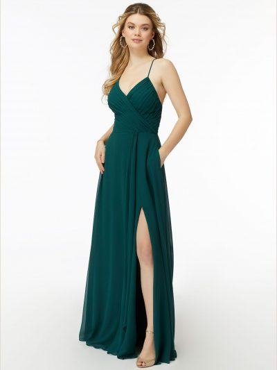 Isla 21725 Morilee chiffon bridesmaid dress with slit