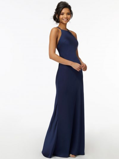 Phoebe 21729 High Neck Satin Bridesmaid Dress with Strappy Back by Morilee