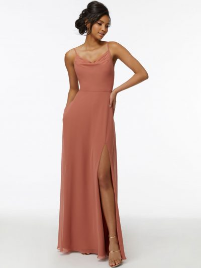 Zara 21732 by Morilee Cowl Neck Chiffon Bridesmaid Dress with Front Slit