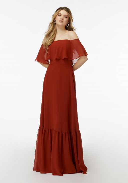 Maisie 21733 Off The Shoulder Ruffle Chiffon Bridesmaid Dress by Morilee