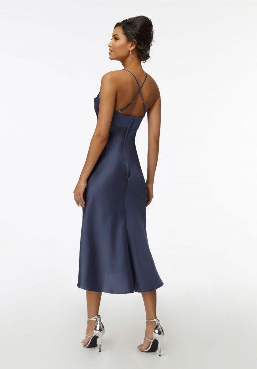 Juliet 21735 Midi Silky Satin Cowl Neck Bridesmaid Dress by Morilee