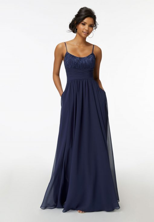 Eden 21736 Chantilly Lace and Ruched Chiffon Bridesmaid Dress by Morilee