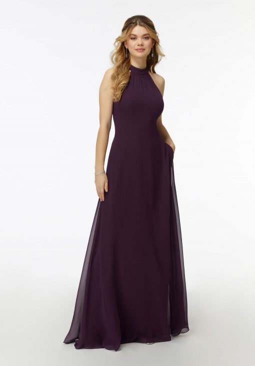 Aspen 21737 Chiffon High-Halter Bridesmaids Dress with Keyhole Back by Morilee