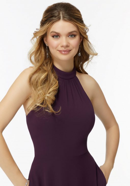 Aspen 21737 Chiffon High-Halter Bridesmaids Dress with Keyhole Back by Morilee.