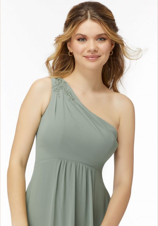 August 21738 Embroidered One Shoulder Chiffon Bridesmaid Dress by Morilee