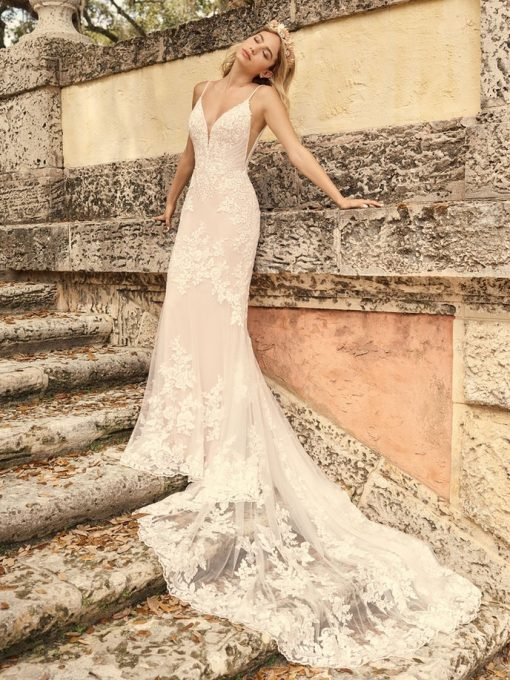 Fontaine lace v neck dress with low back by Maggie Sottero