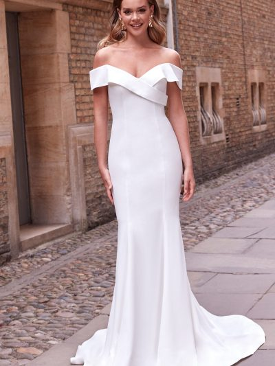 Cuffed off the shoulder crepe fitted wedding dress