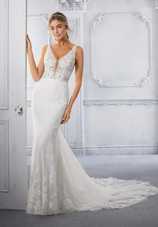 Celine Dress by Morilee, fitted with lace wedding dress