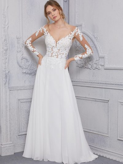 Long Sleeve lace wedding dress by Morilee at Runway Bridal
