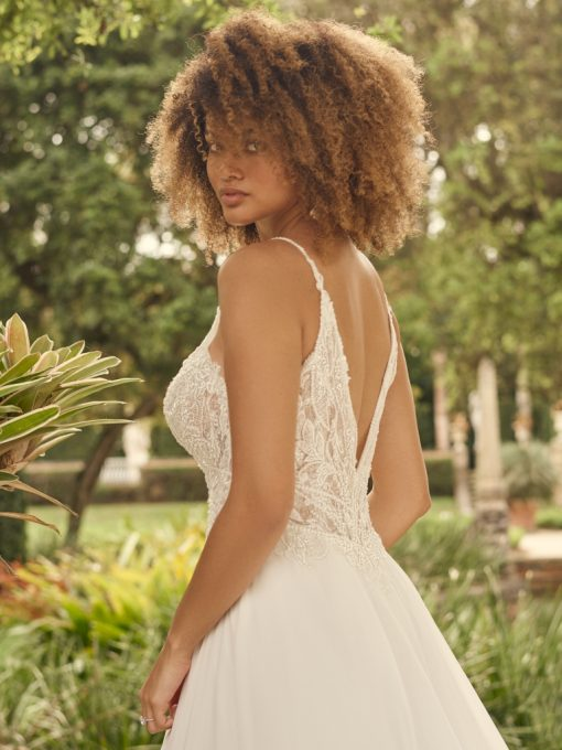 Maggie-Sottero-Margery-flowy aline wedding dress with low back
